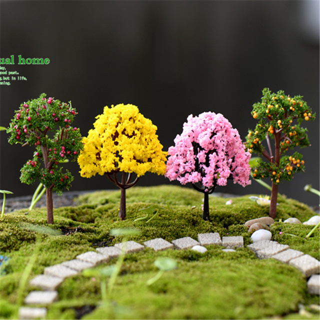 Mini Garden Decorations Resin Tree Fairy Garden Miniatures Trees Garden  Decoration Terrarium Figurines Miniature Fairy Figurines