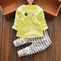 Весна осень хлопок детская одежда девушки устанавливает одежда для новорожденных детские наборы полосой брюки бесплатная доставка 15130