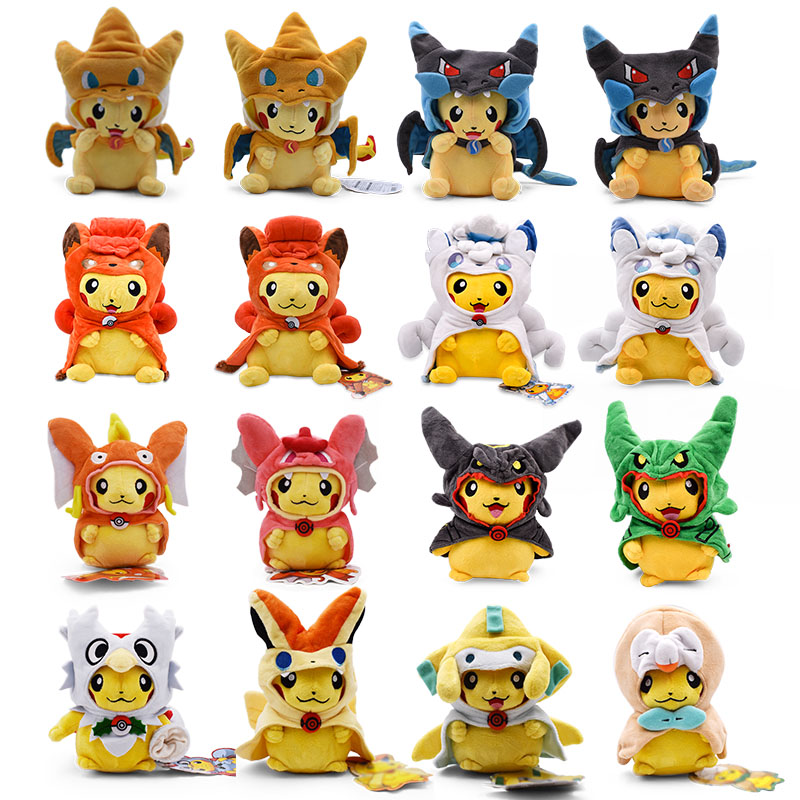 16-30cm Pikachu Cosplay Charizard Vulpix Gyarados Cartoon Plush Doll Toys Anime Pikachu Soft Stuffed Toy For Children Best Gift