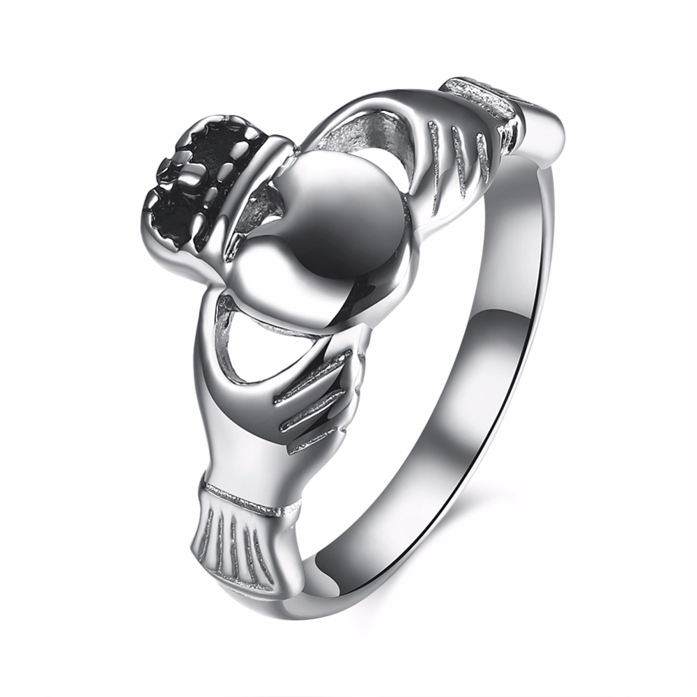 Classic Stainless Steel Claddagh Ring Men Women