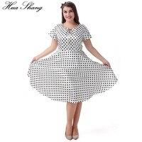 Hua Shang Kobiety Lato Z Krótkim Rękawem Casual Dress Fashion Wysoka Talia Linia Huśtawka Biały Midi Sukienka Dot Drukuj Słodkie Party Dress