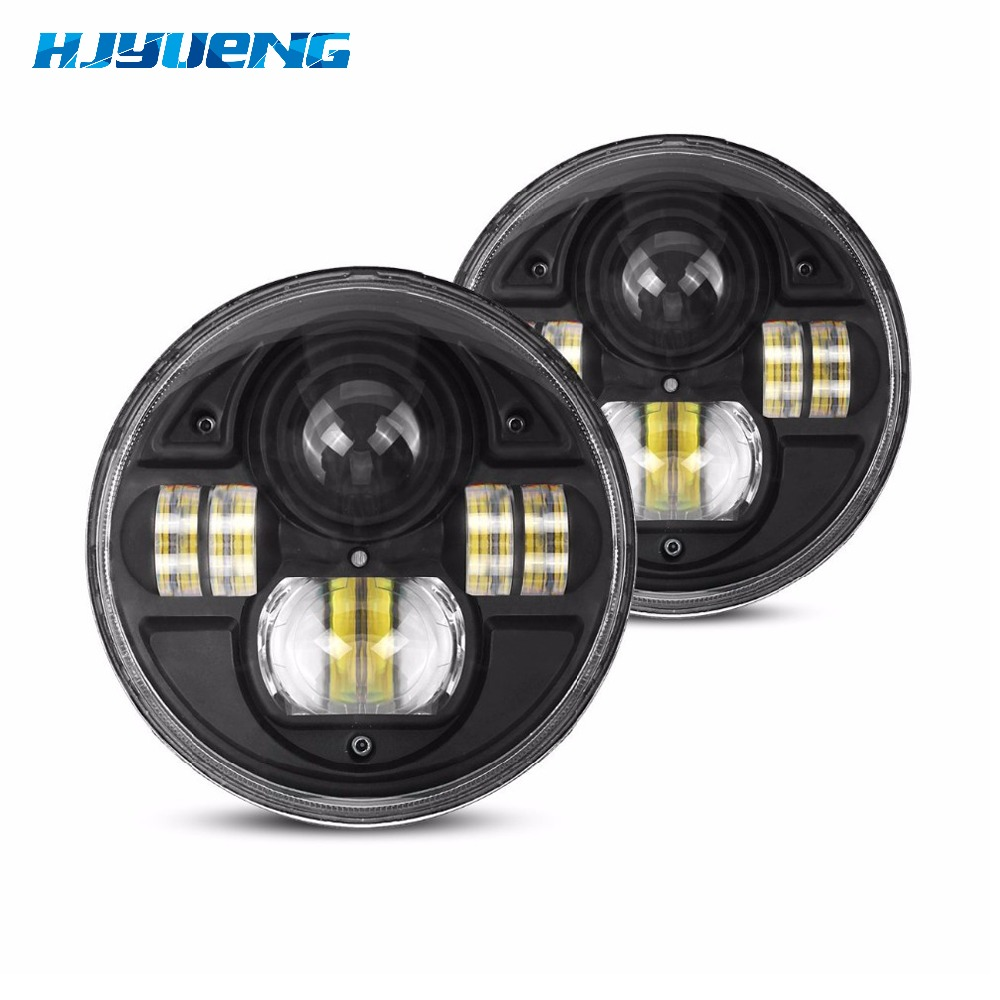1 pair 7 inch for jeep wrangler Headlight 54W LED H4 Round With DRL For Jeep Wrangler and for LandRover Defender DRL 7inch lamp 1 pair 7 inch rectangular led headlight