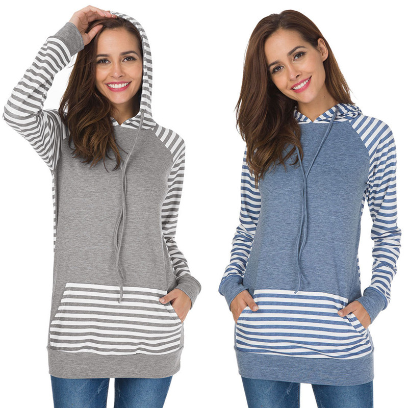 Autumn Spring Casual Patchwork Maternity Clothes Long Sleeve Nursing Hoodies Breastfeeding Sweatshirt Pullover For Pregnant