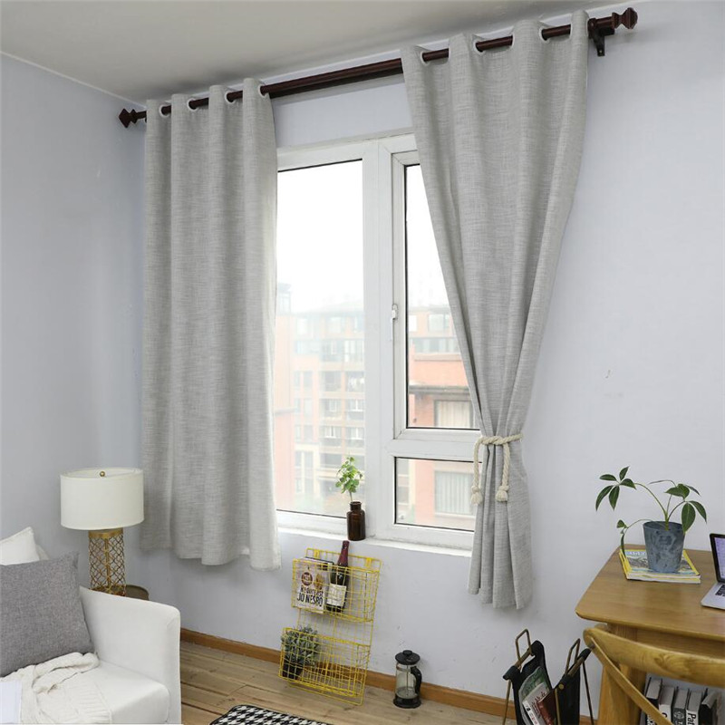 Light Grey Nordic Style Linen Cotton Blackout Curtains For
