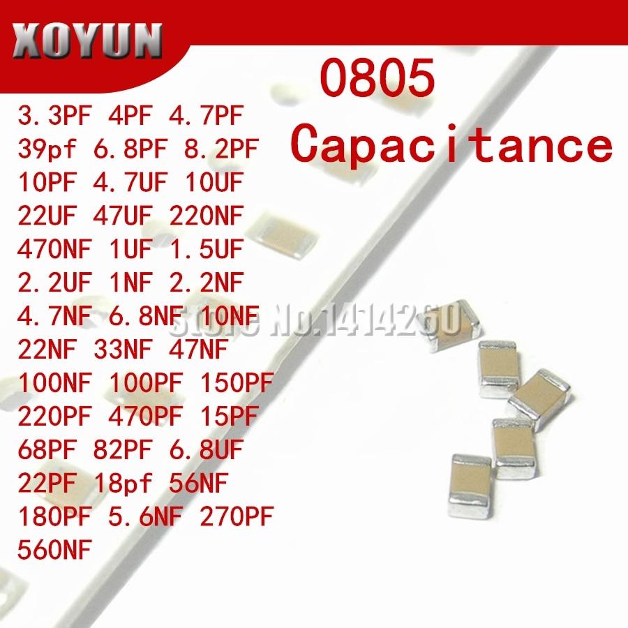 100pcs 3.3PF-47UF 0805 SMD 100V X7R 10% 100nf 0.1uf 104K 104 22UF 4.7UF 10UF 10NF 1UF Ceramic Capacitor 155k 226K 475 106 103