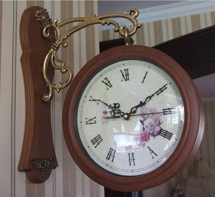 antique double sided wall clocks vine double sided wall clock iron 360 degree rotate antique dark