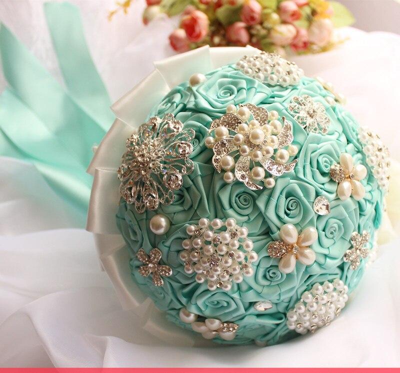 Online Shop handmade original wedding tiffany blue flower bouquets ...
