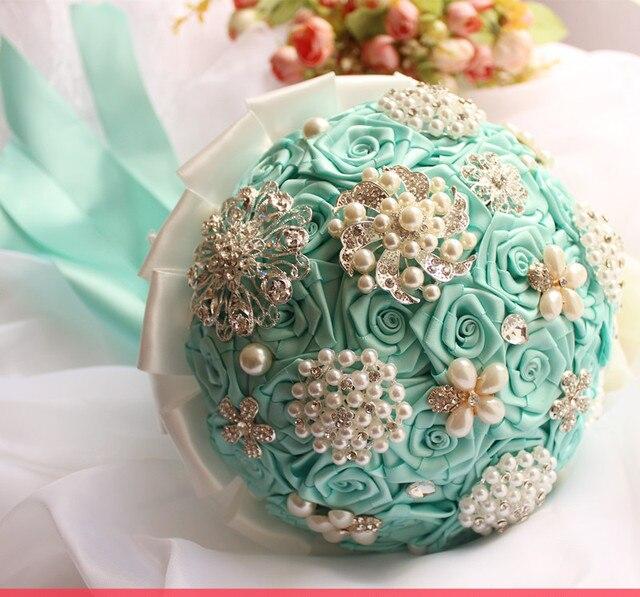 handmade original wedding tiffany blue flower bouquets diamond ...