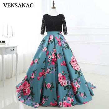 VENSANAC New 2017 Embroidery O Neck Long Evening Dresses Three Quarter Sleeve Elegant Lace Sweep Train Party Prom Ball Gowns