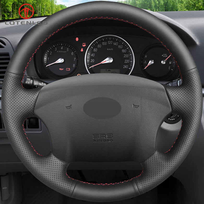 LQTENLEO Black Genuine Leather Car Steering Wheel Cover For Hyundai Azera 2005 2010 Sonata NF NFC 2005 2010 Kia Carens 2007 2011-in Steering Covers from Automobiles & Motorcycles    2