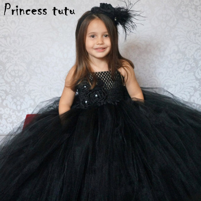 Elegant Kids Black Dress Girl Flower Princess Dress Birthday Wedding Party  Dresses Handmade Costume Boutique Girls Clothes W077 d2a93a3c2b3d