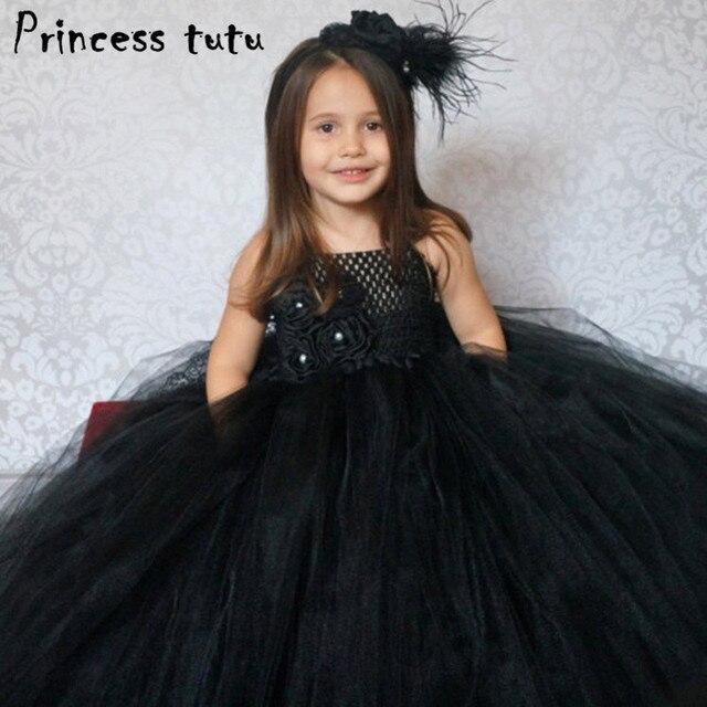 b55442bcd5e1 Eleganti Bambini Vestito Nero Ragazza di Fiore Della Principessa Dress  Compleanno Abiti Da Festa di Nozze
