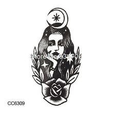 CC6309 6X6cm Little Vintage Old School Style Black Beauty Girl Temporary Tattoo Sticker Body Art Water Transfer Fake Taty