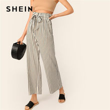 c39ac4467c SHEIN Beige Paperbag Waist Striped Wide Leg Pants Women Casual Streetwear  Belted High Waist Pants Spring