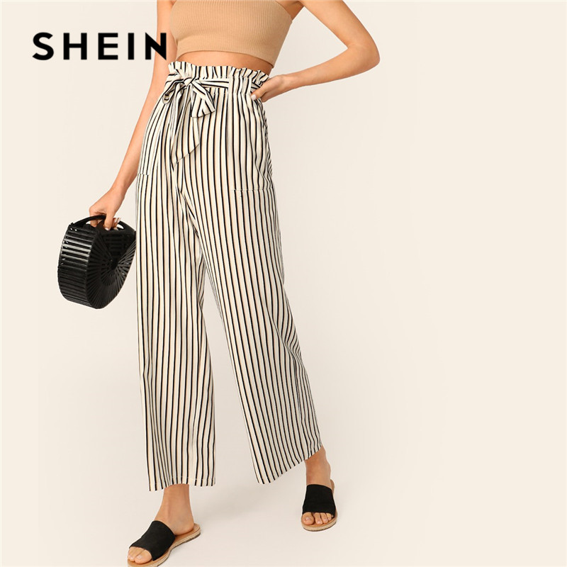 SHEIN Beige Paperbag Waist Striped   Wide     Leg     Pants   Women Casual Streetwear Belted High Waist   Pants   Spring Elastic Waist Trousers