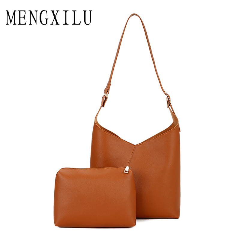MENGXILU Womens Fashion Leather Simple Shoulder Bag Crossbody Bags Luxury Women Bags Designer High Quality PU Totes Wome