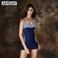 Maillot Athletic Striped Training Boyleg One Piece Swimsuit Swimming Suit For Women Bathing Suit Female Slim