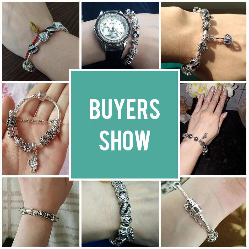 Настоящие серебряные бусы 925 пробы покрытые глазурью, очаровательный браслет для женщин, с защитной цепочкой, браслет на запястье, подарок на день матери