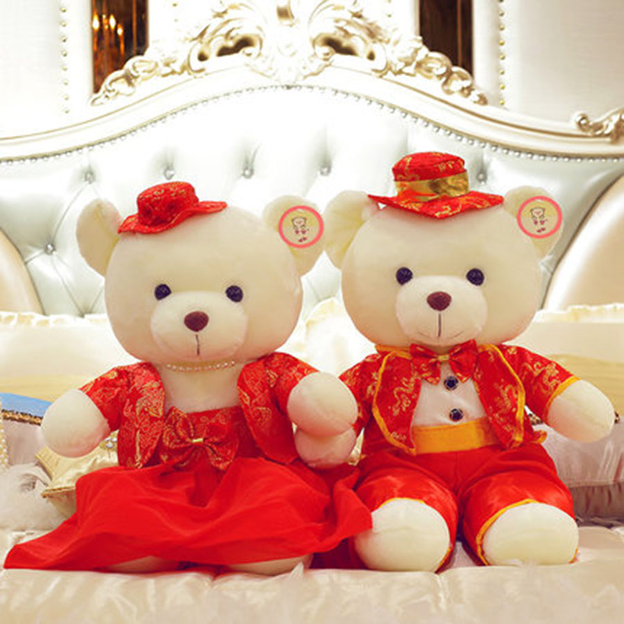 New Wedding Bear Peluches Couples Plush Toys High Quality Teddy Bear Doll Birthday Gift Wedding Gift Bride Groom Bear 70C0084 2017 new year teddy bear plush toys high quality and low price skin holiday gift birthday gift valentine gift stuffed animals