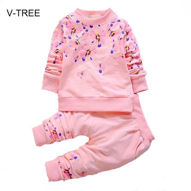 Детские девушки установить Весной и осенью детская одежда для девочек Ребенка осень костюм из двух частей Весной и Осенью