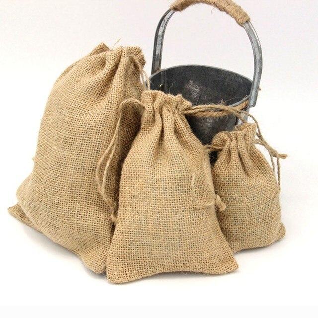Natural Hemp Small Jute Bag Large Cheap Burlap Gift Bags Wedding Decoration Hessian Linen Drawstring Bean