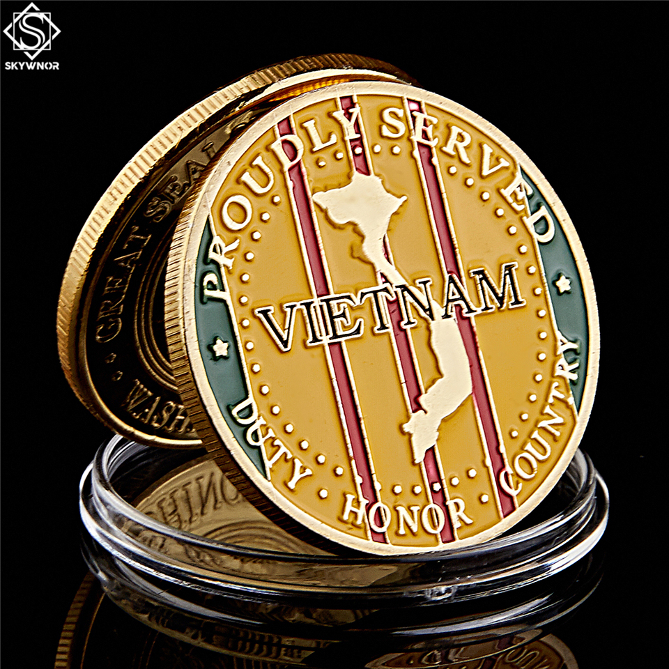 America Screaming Eagles Marine Corps Gold Challenge Coin USA Vietnam War Collectibles