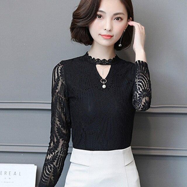 AiiaBestProducts Women Lace Blouse Long Sleeve 2