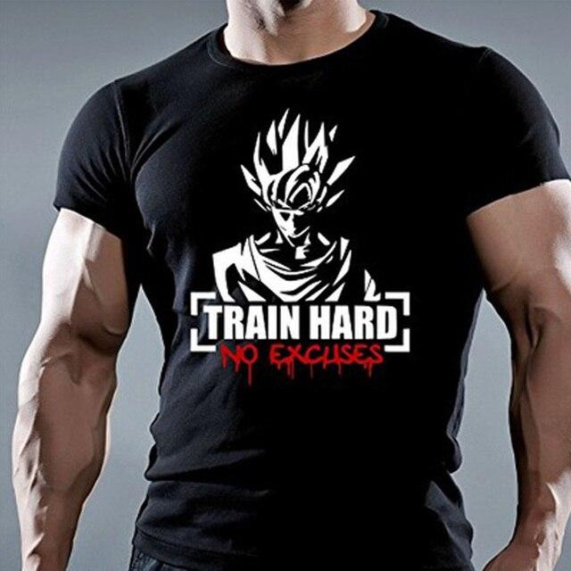 d7599254ef246 Train Hard No Excuses Bodybuilding Motivation T-shirt dragon ball t shirt  men new cartoon printed men's funny shirts