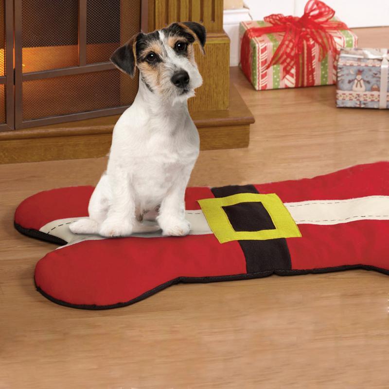 Christmas Dog Bed Santa Belt Bone Shape Design Pet