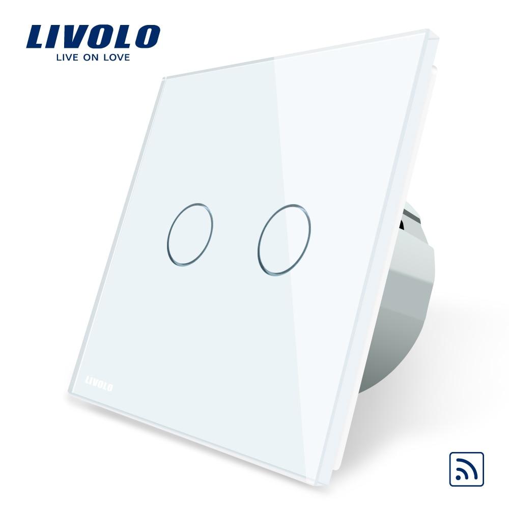 Livolo EU Standard Remote Switch Crystal Glass Panel EU Standard VL C702R 11 Wall Light Remote