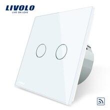 Livolo ЕС Стандартный кристаллами Стекло Панель, ЕС Стандартный, AC220 ~ 250 В, настенный светильник дистанционный сенсорный выключатель + светодио дный индикатор, C702R-1/2/3/5