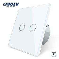 Livolo EU Standard, Crystal Glass Panel, EU standard,AC220~250V, Wall Light Remote Touch Switch+LED Indicator,C702R-1/2/3/5