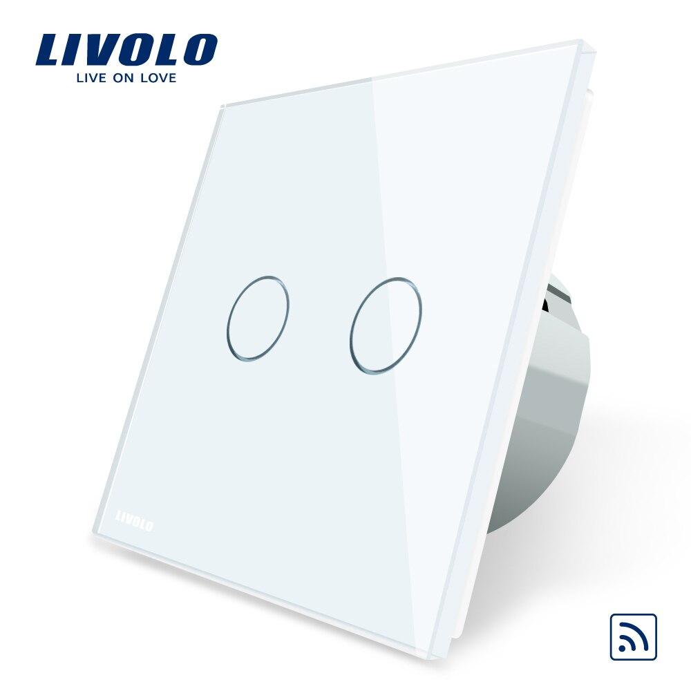 Livolo Padrão DA UE, Painel de Vidro Cristal, padrão DA UE, AC220 ~ 250 v, luz da parede Interruptor de Toque Remoto + Indicador LED, C702R-1/2/3/5