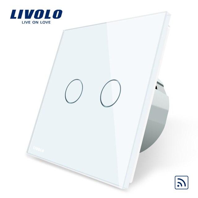 Livolo/Стандартный, с украшением в виде кристаллов Стекло Панель, ЕС Стандартный, AC220 ~ 250 V, настенный светильник дистанционный выключатель + светодиодный индикатор, C702R-1/2/3/5