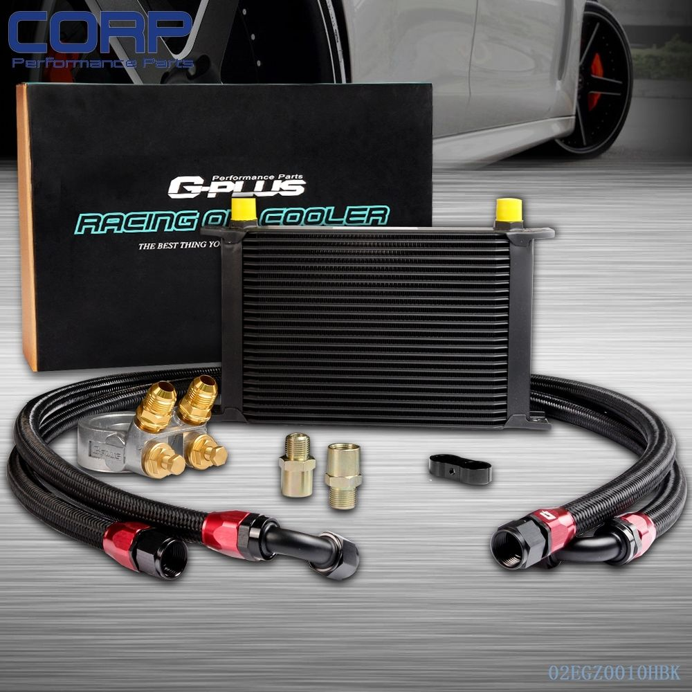 GPLUS 25ROW Thermostat Adaptor Engine Racing Oil Cooler Kit For CAR/TRUCK BK racing new oil cap engine cover fuel for mitsubishi evo