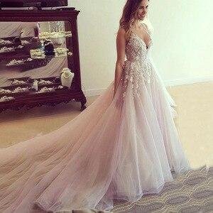 Image 1 - V צוואר טול חתונת שמלות Applique גב פתוח ללא שרוולים קו רצפת אורך קתדרלת רכבת כלה שמלת Vestido דה Noiva