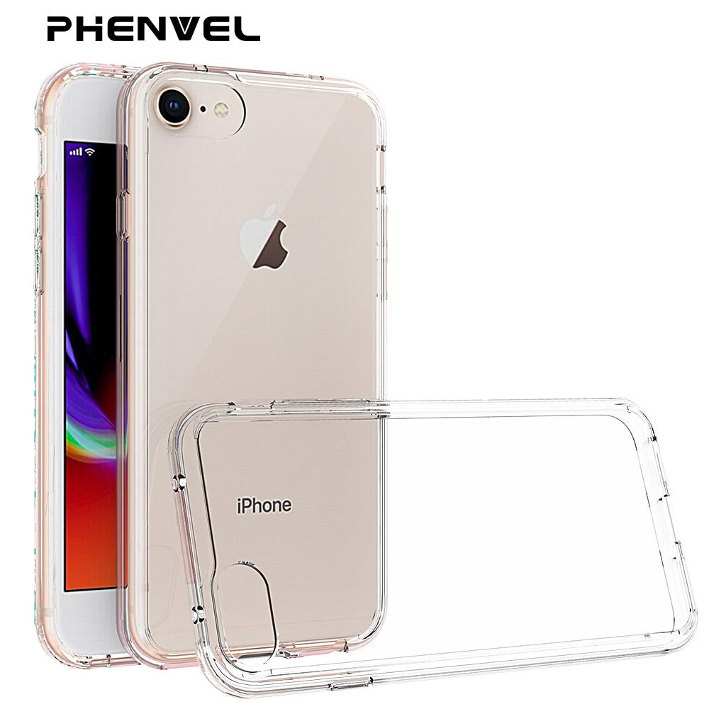 Phone Case For Iphone 8 7 Plus Luxury Coque Totu Ultra Thin Slim Design Crystal Color Dark Blue Tpu Pc Cover Iphone8 Phenvel Anti Drop Rigid Transparent