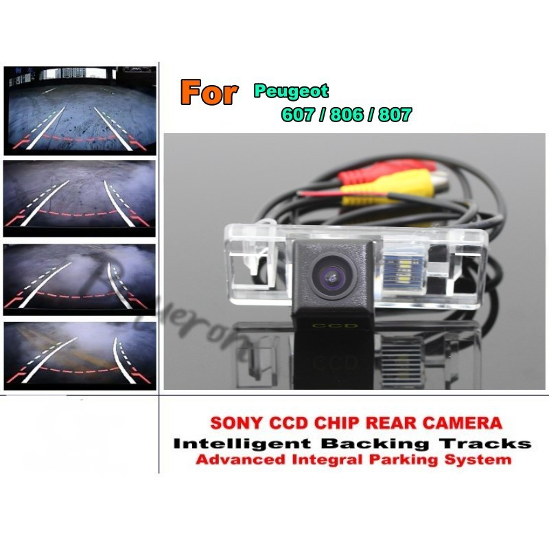 Smart Tracks Chip Camera / HD CCD Intelligent Dynamic Parking Car Rear View Camera For Peugeot 607 / 806 / 807 for mercedes benz c class mb w205 2014 2016 smart tracks chip camera hd ccd intelligent dynamic parking car rear view camera