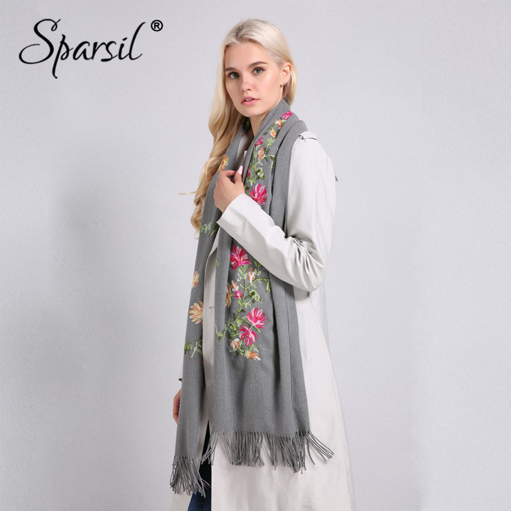 Sparsil Women Embroidery Cashmere Scarf Winter Tassel Floral Pashmina Hijab Flowers Thick Scarves Long Warm Shawls Size 200*70cm
