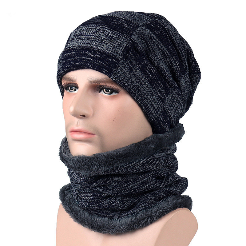 2019 Winter Accessories For Women Men Solid Hat With Scarf Plus Velvet Warm Hat Scarf Winter Set Knitting Skullies Beanies
