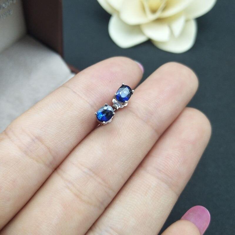 LANZYO 925 argent naturel saphir boucles d'oreilles mode bijoux anniversaire plante femmes cadeau en gros e040501agl - 3