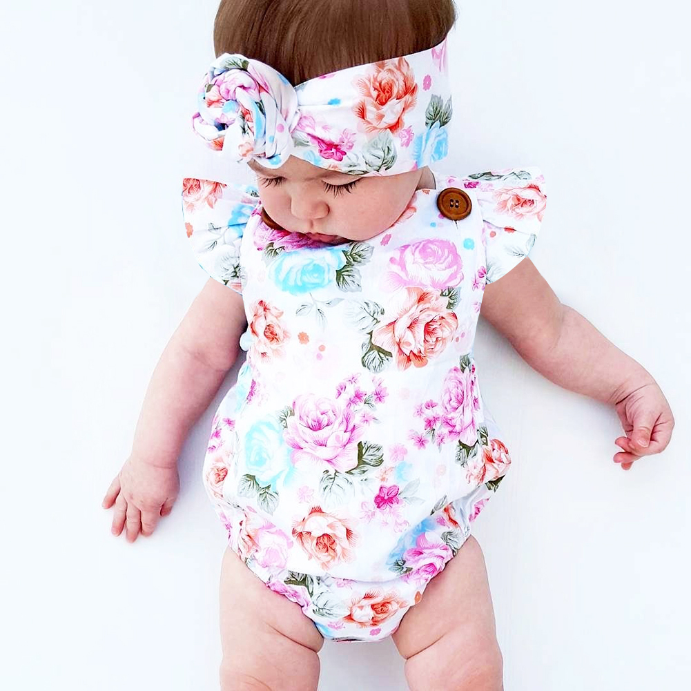2pcs/Set ! Summer 2017 Cute Infant Baby Girls Floral Sleeveless Romper +Headband Summer Sunsuit Clothes Outfits Set cute newborn baby girl bodysuit headband outfits floral sunsuit clothes flower infnat toddler girls summer 3pcs set playsuit