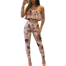 New Fashion Sexy Casual Women Suit Two-piece Outfits Strapless Crop Top Long Pants Floral Print Ruffles Bodycon Set Pink