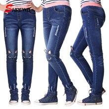 От 2 до 14 лет леггинсы для девочек-подростков; модные джинсы для девочек с рисунком кота; осенние детские узкие брюки; детские брюки; Pantalon Fillette