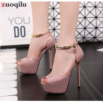 Peep Toe Platform High heels Pumps Women Shoes 2020 women heels sandals wedding shoes Sandalia Feminina 12/14 CM heels shoes image