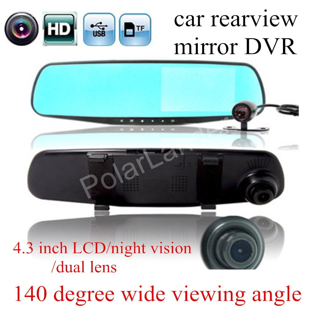 New 4.3 inch Dual Cameras Car DVR Rearview Mirror Car Parking Recorder camcorder Night Vision 140 degree wide viewing angle