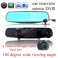 Cheap price New 4.3″ inch Dual Cameras Car DVR Rearview Mirror Car Parking  Recorder camcorder Night Vision 140 degree wide viewing angle