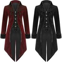 Adult Men Medieval Victorian Costume Tuxedo Gentlema Tailcoat Gothic Steampunk Trench Coat Frock Outfit Overcoat Uniform For Men