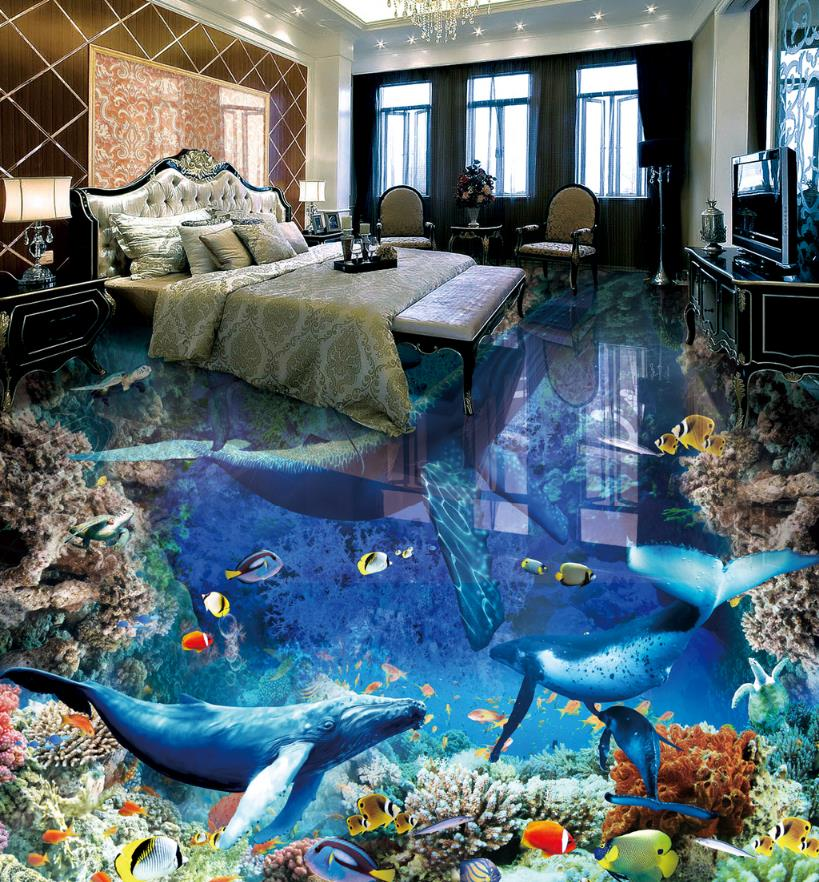 3D Flooring Customize The underwater world Wall paper For Kids Room pvc Flooring adhesive Photo Wallpaper 3D