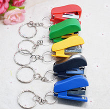 1Pc Mini Stapler Key Chain Ring Keychain School Office Supplies Stationery